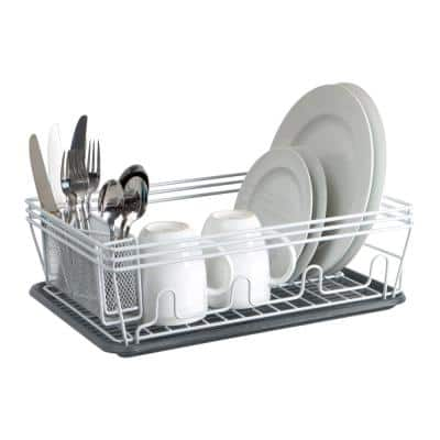 Speckled Dish Rack Set in White