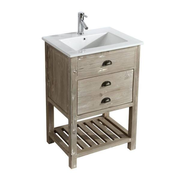 D Bath Vanity In Natural, 24 Inch Bathroom Vanity With Top And Sink