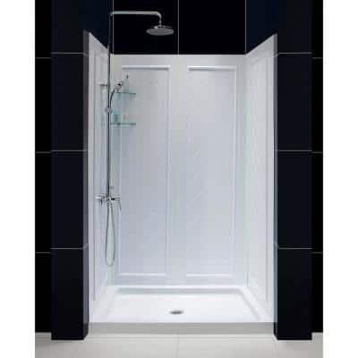 Slimline 48 in. x 34 in. Single Threshold Shower Base in White with Shower Backwalls