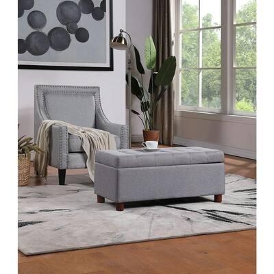 Gray Modern Tufted Linen Fabric Ottoman Storage Bench