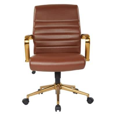 22.5 in. Width Standard Saddle and Gold Faux Leather Task Chair with Adjustable Height