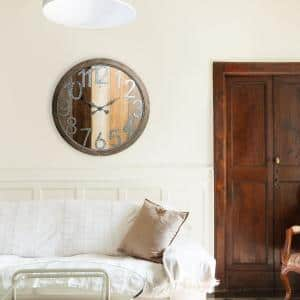 Rustic Wood Shiplap and Metal Gray and Brown Wall Clock