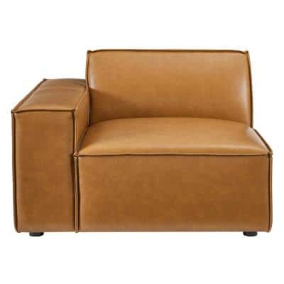 Restore Tan Right-Arm Vegan Leather Sectional Sofa Chair