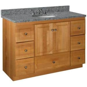 Ultraline 48 in. W x 21 in. D x 34.5 in. H Simplicity Vanity Center Basin with Side Drawers in Natural Alder