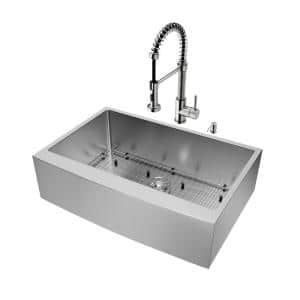 Bedford Stainless Steel 33 in. Single Bowl Farmhouse Apron-Front Kitchen Sink with Edison Faucet and Accessories