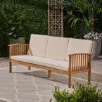 Carolina Teak Brown 1-Piece Wood Outdoor Couch with Cream Cushions