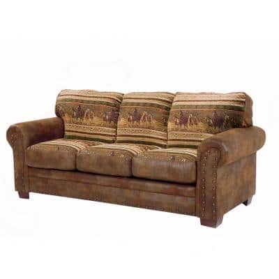 Wild Horses 88 in. Brown/Tan Pattern Microfiber 4-Seater English Rolled Arm Sofa with Removable Cushions