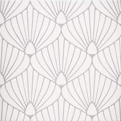 Epoque Shell White and Lavender 8 in. x 8 in. Matte Ceramic Floor and Wall Tile (12.7 sq. ft. / Case)