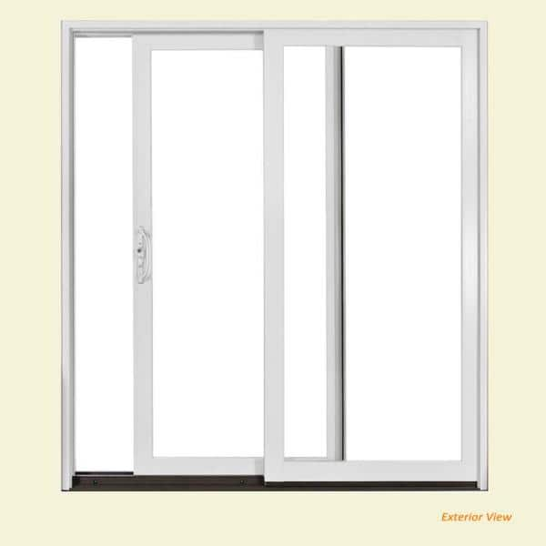 Jeld Wen 72 In X 80 In W 2500 Brilliant White Wood Clad Left Hand Full Lite Sliding Patio Door W Unfinished Interior S37483 The Home Depot