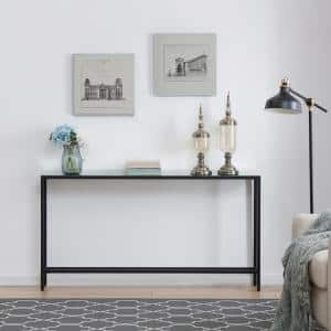 Quenn 56 in. Black Standard Rectangle Mirrored Console Table