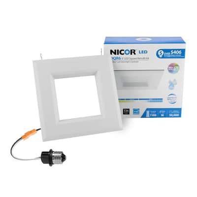 DLR Series 6 in. White (1280 Lumens) LED Square Recessed Retrofit Downlight Trim Kit, 3000K