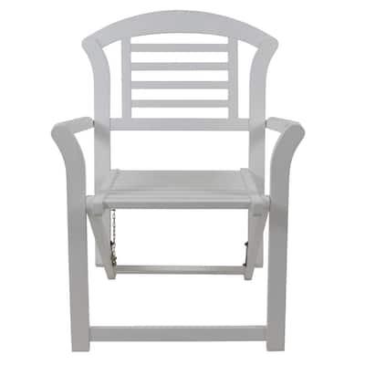Fenton White Folding Wood Outdoor Arm Chair