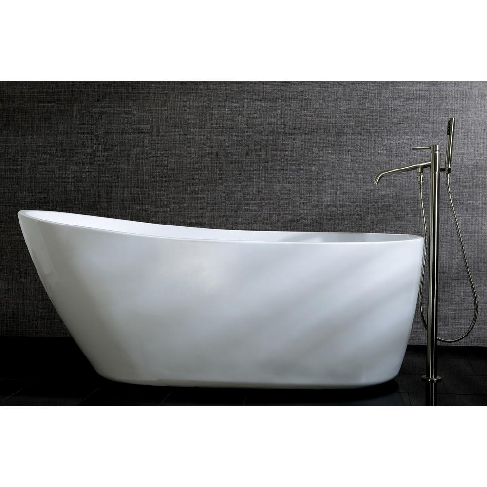 Aqua Eden Fusion 59 In Acrylic Front Drain Flatbottom Freestanding Bathtub In White Hvtrs592928 The Home Depot