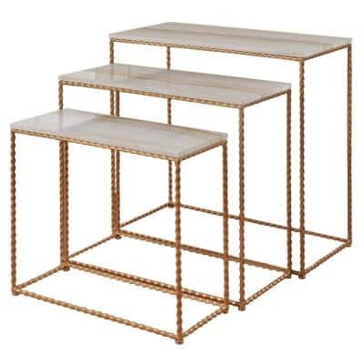 14 in. Gold Metal TV Stand 44 in. with Nesting Tables
