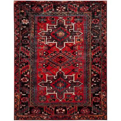 Vintage Hamadan Red/Multi 8 ft. x 10 ft. Floral Border Area Rug