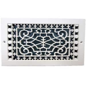Victorian Base Board 10 in. x 6 in., 7-3/4 in. x 11-3/4 in. Overall Size, Polymer Decorative Return Air Grille, White