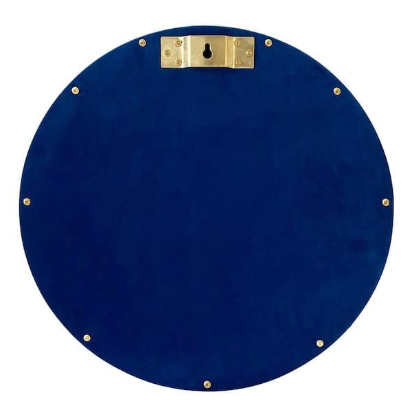 16 In X 16 In Modern Round Velvet Accent Mirror Set Of 3 Luna3pk Blue The Home Depot
