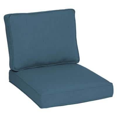 Oasis 26 in. x 30 in. Plush 2-Piece Deep Seating Outdoor Lounge Chair Cushion in Chambray Blue