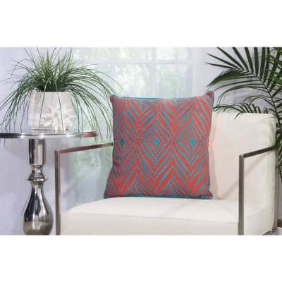 Wild Chevron Coral and Turquoise Geometric Stain Resistant Indoor/Outdoor 18 in. x 18 in. Throw Pillow