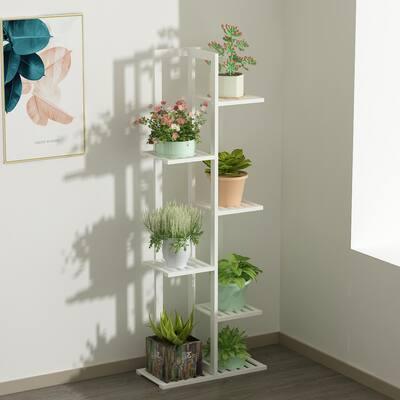 49.2 in. H 6-Tier White Wooden Bamboo Shelf Indoor/Outdoor Plant Stand Flower Pot Rack