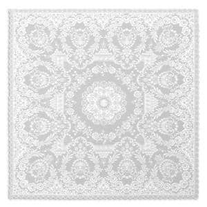 Filigree 42 in. W x 42 in. L White Floral Polyester Table Topper