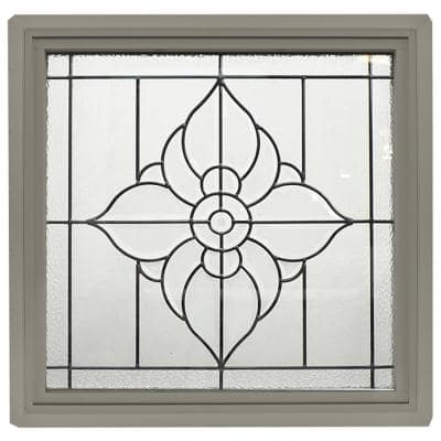 23.5 in. x 23.5 in. Driftwood Frame Spring Flower Black Caming 1 in. Nail Fin Offset Vinyl Picture Window
