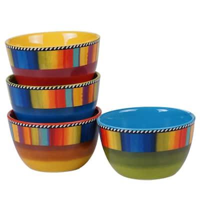 Sierra 4-Piece Seasonal Multicolored Earthenware 22 oz. Ice Cream Bowl Set (Service for 4)