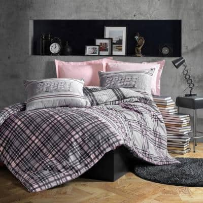 Sports in Blush Gray Cotton Duvet Cover Set Pink,Full Size Duvet Cover, 1-Duvet Cover, 1-Fitted Sheet and 2-Pillowcases