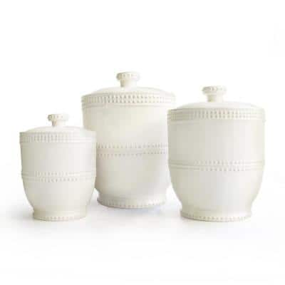 Bianca Bead 3-Piece White Earthenware Canister Set with Lid
