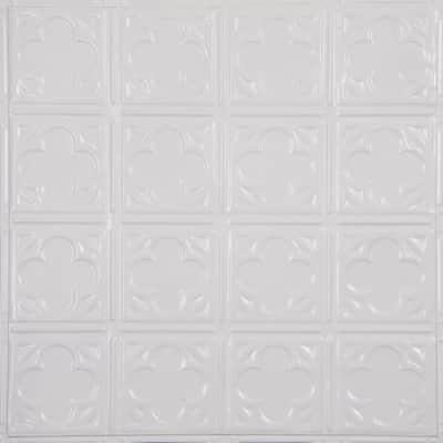 Pattern #35 24 in. x 24 in. Bright White Satin Tin Wall Tile Backsplash Kit (5 pack)