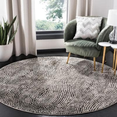 Lurex Black/Light Gray 7 ft. x 7 ft. Round Abstract Area Rug