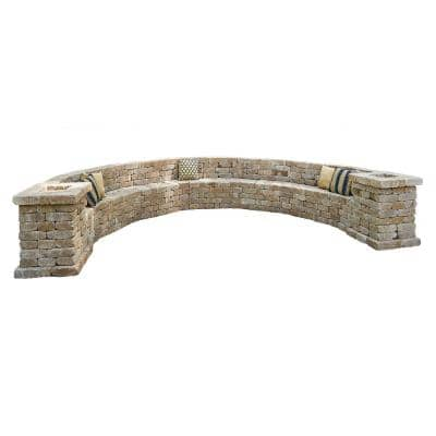 Rumblestone 174.5 in. W x 31.5 in. H x 105.75 in. L Large Curved Concrete Bench Kit in Sierra Blend