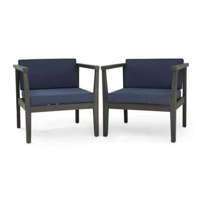 Newbury Grey Removable Cushions Wood Outdoor Lounge Chair with Dark Grey Cushions (2-Pack)