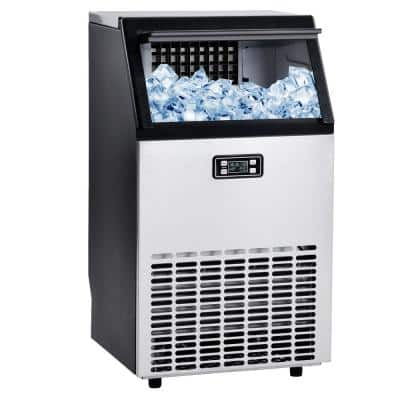 100 lbs. Freestanding Ice Maker Machine in Silver and Black, Auto-Clean Built-in Automatic Water Inlet Clear with Scoop