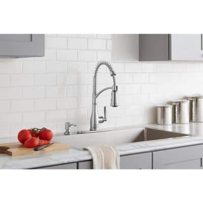 Mandouri Single-Handle Spring Neck Pull-Down Kitchen Faucet with Soap Dispenser in Stainless Steel