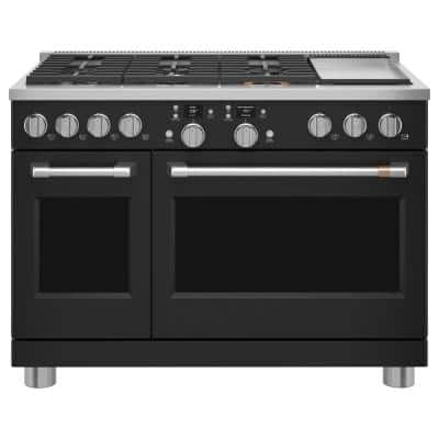 48 in. 8.25 cu. ft. Smart Double Oven Dual Fuel Range with Self-Cleaning Convection Oven in Matte Black