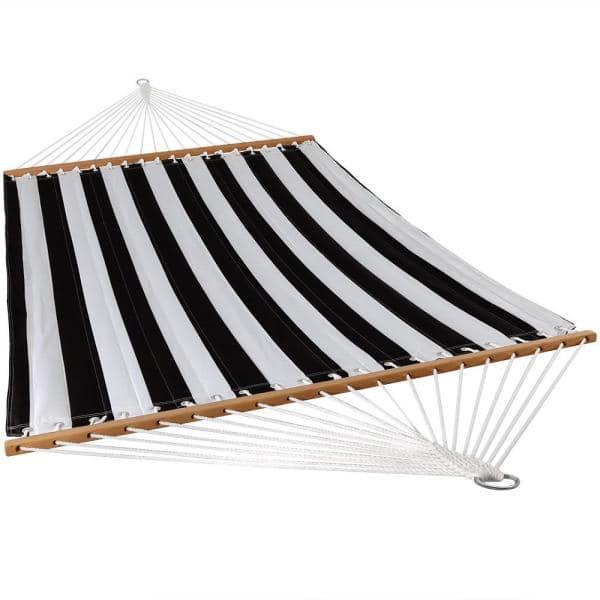 Sunnydaze Decor 11 3 4 Ft Quilted Double Fabric 2 Person Hammock In Black And White Ly Qfh Blk The Home Depot