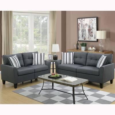 Sardinia 2-Piece Charcoal Sofa Set