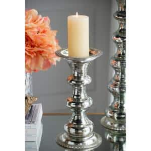 11.8 in. H Silver Glass Pillar Candle Holder