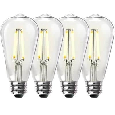60-Watt Equivalent ST19 Dimmable Straight Filament Clear Glass Vintage Edison LED Light Bulb, Warm White (4-Pack)