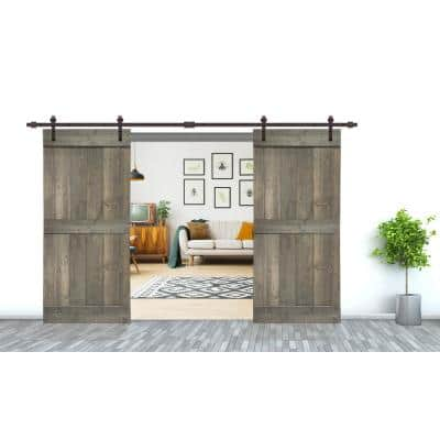 72 in. x 84 in. Mid-Bar Series Weather Gray Stained Solid Pine Wood Interior Double Sliding Barn Door with Hardware Kit