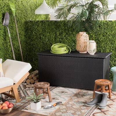 Safavieh Cosima 53-inch Black Wood Outdoor Storage Box
