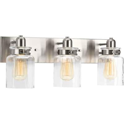 Calhoun Collection 3-Light Brushed Nickel Clear Glass Farmhouse Bath Vanity Light