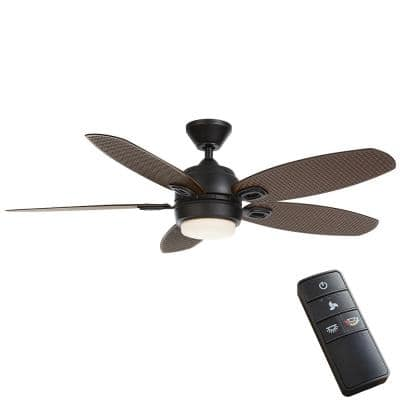 Daniel Island 52 in. White Color Changing Integrated LED Outdoor Matte Black Ceiling Fan with Light Kit and Remote