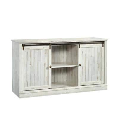 Barrister Lane 61 in. White Plank Particle Board TV Stand Fits TVs Up to 60 in. with Storage Doors