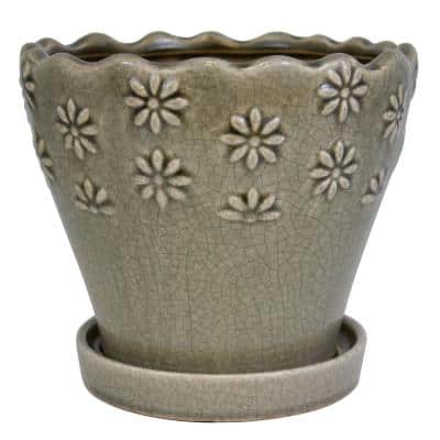 9 in. Taupe Embossed Floral Ceramic Planter