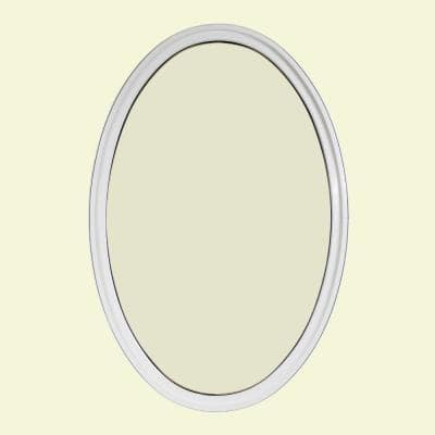 24 in. x 36 in. Oval White 4-9/16 in. Jamb Geometric Aluminum Clad Wood Window