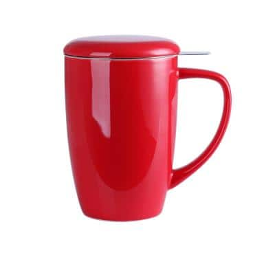 Large Tea Mug 15.2oz. Red with Lid and Stainless Steel Infuser -Tea-for-One Perfect Set for Office and Home Use