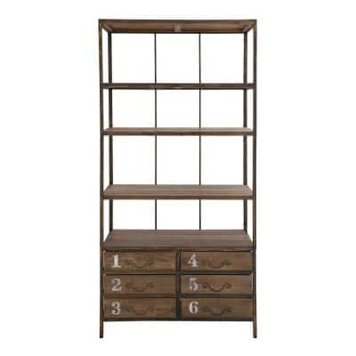 36 in. x 78 in. Tall Industrial Brown Metal and Wood Bookshelf with 6 Drawers