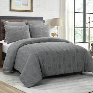 Leon 3-Piece Grey Cotton King Comforter Set